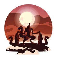Halloween werewolf design icon vector