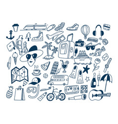 Hand draw doodle travel symbols tourism and vector