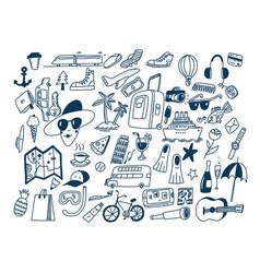 Hand draw doodle travel symbols tourism vector