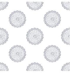 Hand drawn circular saw seamless pattern vector