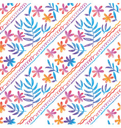 Hand drawn seamless pattern with tropical flowers vector