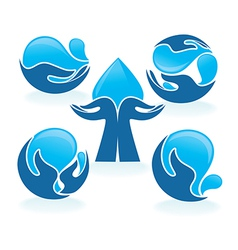 hands and water vector image