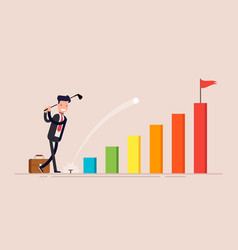 happy businessman or manager businessman hit golf vector image
