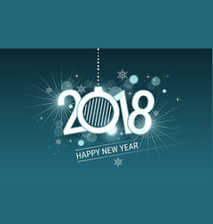 Happy new year 2018 white inscription with vector