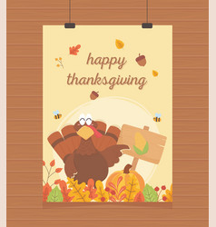 Happy thanksgiving poster hanging turkey with vector