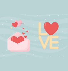 happy valentines day envelope message romantic vector image