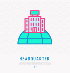 Headquarter on globe thin line icon vector