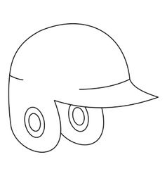 Helmet for baseball or softball icon outline style vector