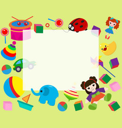 horizontal frame border with colorful toys in vector image