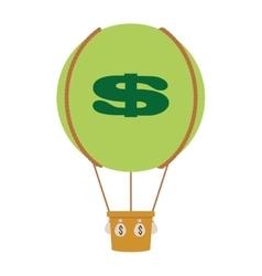 Hot air balloon with dollar sign icon vector