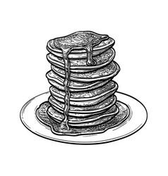 Ink sketch pancakes vector