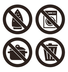 ironing is not allowed no washing machine no vector image