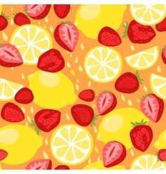 Lemons and strawberries seamless pattern vector