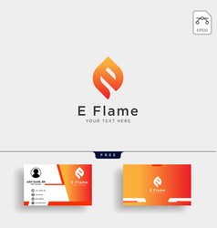 letter e flame logo template with business card vector image