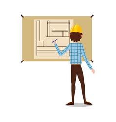 Man engineer standing backwards and drawing vector