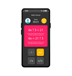 math games smartphone interface template vector image
