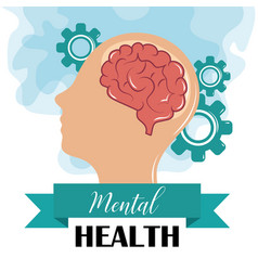 Mental health day human profile brain gears vector