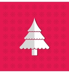 Merry christmas tree pine card vector