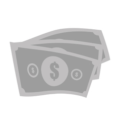 money bills cash dollar gray color vector image
