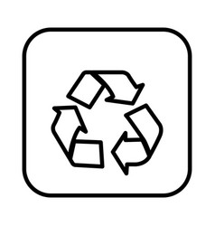monochrome contour square with recycling icon vector image