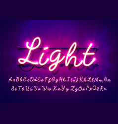 neon tube hand drawn alphabet font script type vector image