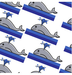 norway whale in ocean seamless pattern giant vector image