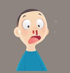 Nosebleed cartoon boy vector