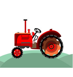 old red farm tractor vector image