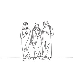 One single line drawing young urban muslim vector