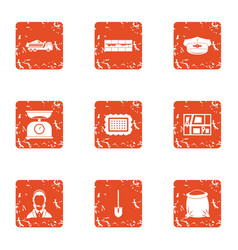 Online positioning icons set grunge style vector