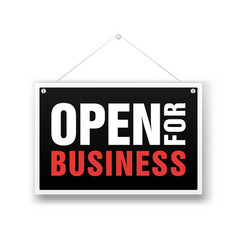 Open for business sign financial marketing vector
