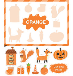 Orange color cut elements and match them with vector