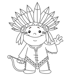 outlined indian kid vector image