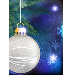 Pine branches with silver Christmas bauble vector