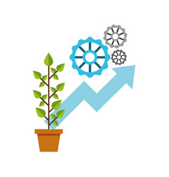Plant growth leafs icon vector