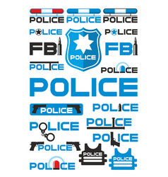 Police and justice logotypes set vector