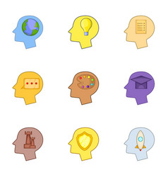 Profile of the head set icons vector