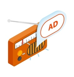 Radio advertising icon isometric 3d style vector