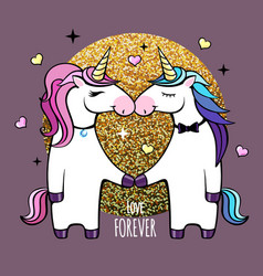 romantic couple of unicorns happy valentines day vector image