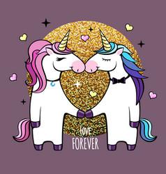 romantic couple unicorns happy valentines day vector image