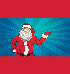 Santa claus hold open palm to copy space pop art vector