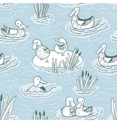 seamless pattern with ducks and reed vector image