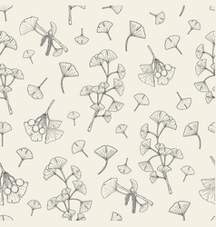 Seamless pattern with ginkgo biloba medical vector