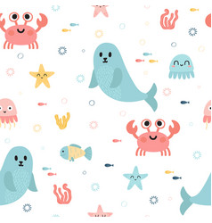 Seamless pattern with sea animals fish starfish vector