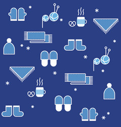 seamless winter pattern knitting hygge concept vector image