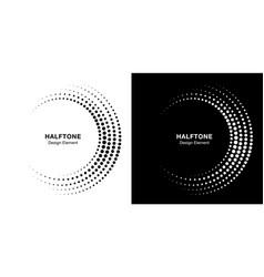set halftone incomplete circle frame dots logor vector image
