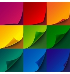Set of curled rainbow paper square sheets with vector image