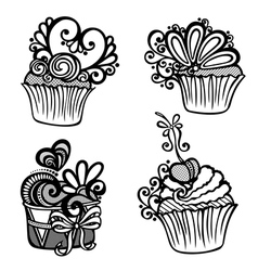 Set of Ornate Cakes vector image