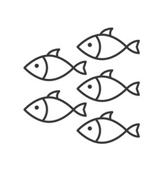 Shoal group fish icon set ocean life line vector