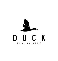 silhouette side flying up duck goose swan logo vector image